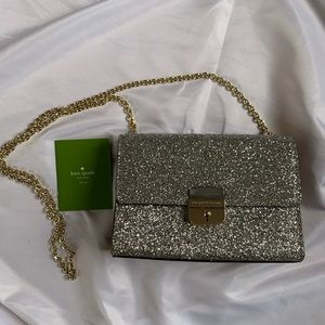 Kate Spade silver glitter evening bag with chain